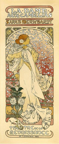 "7x17"" Vintage French Advertisements Poster. Art nouveau. La Dame Aux Camelias Sarah Bernhard  By Alphonse Mucha - 210"