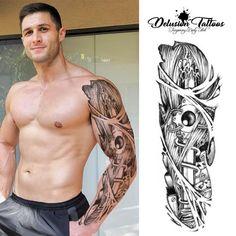 Full Arm Tattoos, Top Tattoos, Fake Tattoos, Tribal Tattoos, Sleeve Tattoos, Tattoos For Guys, Realistic Temporary Tattoos, Temporary Tattoo Sleeves, Tattoo Off