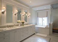 White Marble Bathroom With Double Vanity Transitional Bathroom With Modern Ideas And Bathroom Vanity San Francisco Bathroom Sconces, White Bathroom, Small Bathroom, Master Bathroom, Wall Sconces, Bathroom Vanities, Bathroom Marble, Bathroom Hardware, Modern Bathroom