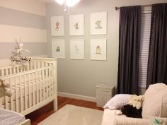 Grey gender neutral nursery....love the one wall with stripes