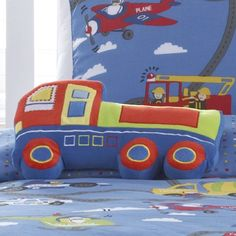 boys blue and red truck cushion by marquis & dawe   notonthehighstreet.com