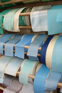 Beautiful Blue Vintage Ribbons. -love these colors.