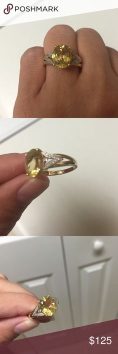 Heliodor 14k gold ring Heliodor also known as yellow beryl is part of the aquamarine/morganite family of stones. 14k yellow gold with diamond accents. Jewelry Rings