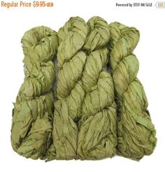 SALE New! Premium Sari Silk Ribbon yarn , 100g (50 yards) color Asparagus