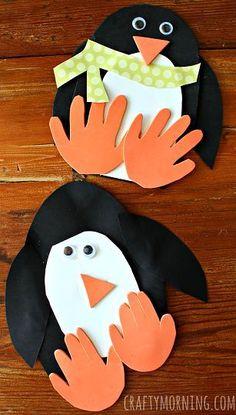 Handprint Penguin Craft for Kids to Make - Great winter art project | http://CraftyMorning.com
