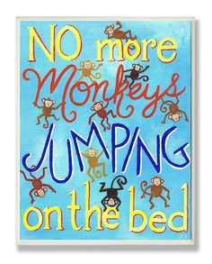 Stupell Home Décor No More Monkeys Jumping On The Bed Rectangle Wall Plaque, 11 x 0.5 x 15, Proudly Made in USA >>> You can get additional details at the image link. (This is an affiliate link and I receive a commission for the sales)