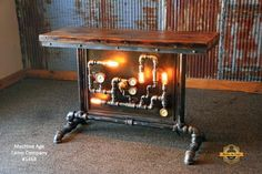 Steampunk Industrial Table / Pipes / Steam Gauge / Barn wood / Table #