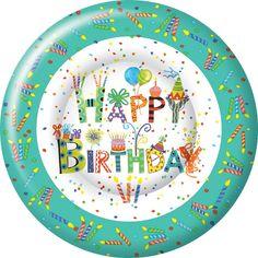 IHR Happy Day Birthday Celebration Designer Printed Paper Salad Dessert Plates Wholesale PK005300