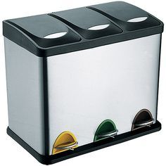 3 compartment bin for trash and recycling!