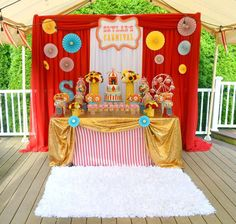 Carnival first birthday party! See more party ideas at CatchMyParty.com!