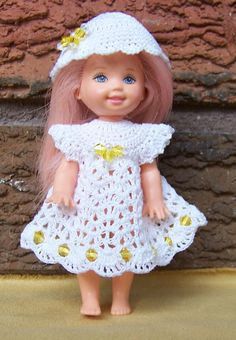 Barbie s Kelly 4 1/2  Doll White Dress & Hat with Yellow Swarovski Crystals