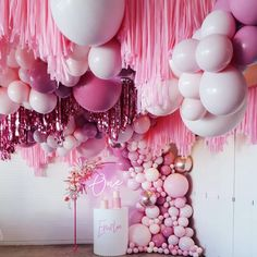 Pink Tone Balloons in various sizes with a mix of fringe layers Balloon Ceiling, Balloon Garland, Balloon Arch, Balloon Decorations, Birthday Party Decorations, Party Themes, Birthday Parties, Balloon Wall, Baby Shower