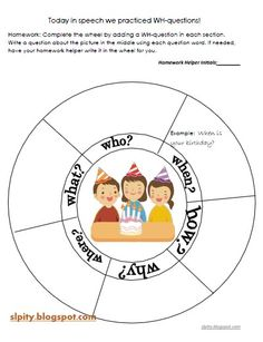 """free download...WH """"Question Wheel"""" Homework. Repinned by SOS Inc. Resources @sostherapy."""