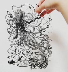 #切り絵 #art🎨 #paperart #人魚姫 #おとぎ話 #papercutting #marmaid #princess #fairytale #instagramjapan