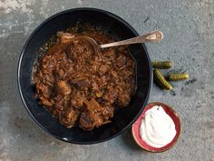 Hungarian Braised Beef with Paprika (Pörkölt) - shouldn't need to make many changes for EPC. Bring it to a boil to cook off the alcohol and then pressure cooker for about 35 minutes, then thicken the sauce or simmer it to reduce the sauce.