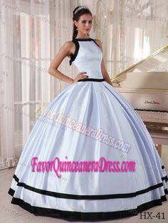 Brand New Bateau Lilac and Black Floor-length Quinceanera Dress in Satin