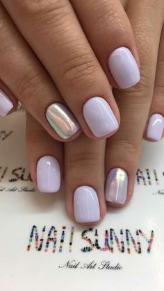 Nails shellac 45 Simple Summer Nails Colors Designs 2019 Lavender nails with silver accent Love Nails, Fun Nails, S And S Nails, Nails Gelish, Summer Shellac Nails, White Summer Nails, Nail Colors For Summer, Cute Shellac Nails, Nail Ideas For Summer