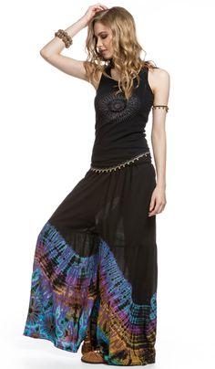 Юбка-брюки, узелковый батик, тай-дай, стиль хиппи, бохо, этническая одежда, Culottes , nodular batik, tie-dye, style hippie boho, ethnic clothing, bohemian. 2880 рублей