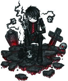 Inferno breaker by *DemiseMAN on deviantART Emo Pictures, Creepy Pictures, Pictures To Draw, Emo Art, Goth Art, Beautiful Artwork, Cool Artwork, Voodoo, Tim Burton Style