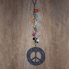 Peace+Car+Charm+-+Metal+peace+sign+car+charm+with+fun,+colorful+beading.
