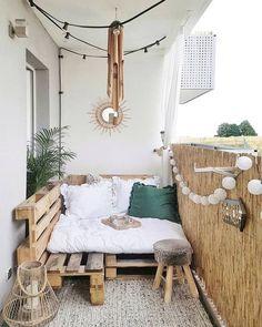101 decoration & design ideas for a small balcony - Pflanzen balkon - Design Rattan Furniture Small Balcony Decor, Outdoor Balcony, Outdoor Decor, Balcony Decoration, Balcony Railing, Tiny Balcony, Balcony Ideas, Outdoor Retreat, Small Balconies
