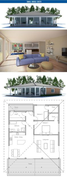 Two Bedroom Small House Plan with open planning, covered terrace, big bathroom, WIC in both bedrooms. Floor area: 1270 sq ft, Cost to Build: from $ 110 000 Living Rooms Design, House Ideas, Guest House, House Plans Small, Idease House'S, Small House, Design Home, Small Homes, House'S Plans