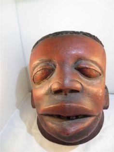 "AFRICAN ART, TRIBAL ART, Carved Wood Ethnic Helmut Mask 14""H  x 9""W x 12""D"