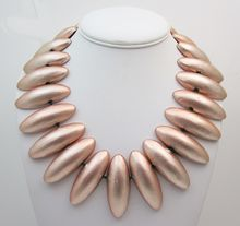 Vintage Mary Oros Metalic Pink Bib Necklace