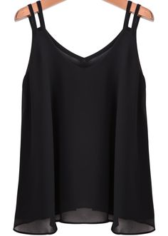 To find out about the Black Spaghetti Strap Loose Chiffon Cami Top at SHEIN, part of our latest Tank Tops & Camis ready to shop online today! Top Chic, Chiffon Cami Tops, Girl Fashion, Fashion Outfits, Fashion Design, Black Spaghetti, Couture Tops, Mode Outfits, Spring Outfits