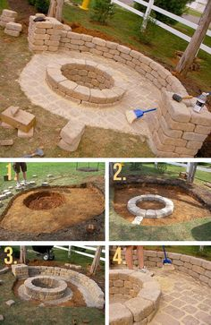 Stone Firepit with Half Wall More on good ideas and DIY mehr zum Selbermachen auf Interessante-dinge.de