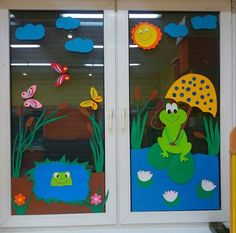 Classroom Window Decorations, School Decorations, Classroom Decor, Decoration Creche, Class Decoration, Diy And Crafts, Crafts For Kids, Paper Crafts, Window Art
