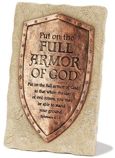 Purchase this antique copper and stone finish full armor of God plaque. This plaque is easel backed. Armor Of God Tattoo, Norse Tattoo, Viking Tattoos, Gott Tattoos, Helmet Of Salvation, Shield Of Faith, Sword Of The Spirit, Christian Warrior, Jesus Tattoo