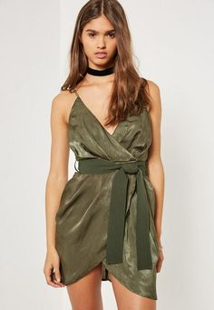 8d2234653e Slip into this slinky khaki mini dress featuring a v neck and belted wrap  tie. Regular fit   Wrap tie Polyester Approx length  (Based on a UK size 8  sample) ...