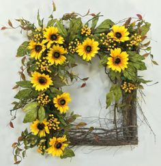 Sunflower Wreath Square Wreath Summer by CrookedTreeCreation