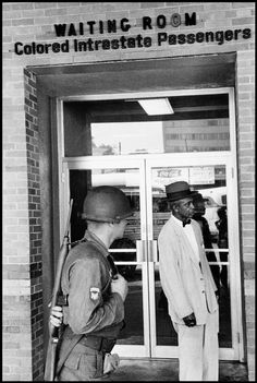 1961. Segregated waiting room at a Greyhound bus station along the Freedom Riders' route.