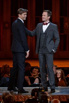 Andrew Rannells (L) and Neil Patrick Harris perform onstage at The 67th Annual Tony Awards 2013