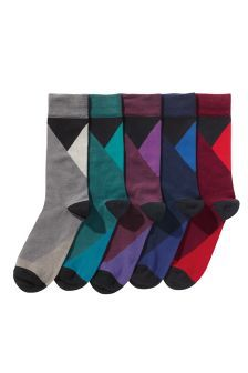 Five Pack Tonal Triangle Socks