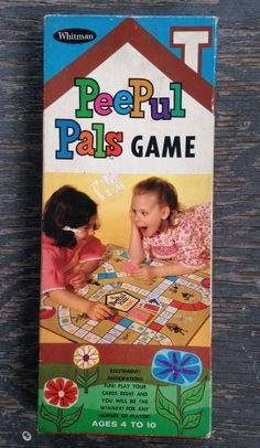 * Vintage PEEPUL PALS Board Card Game WHITMAN Dolls Children's Games Books