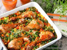 Pałki kurczaka zapiekane z ryżem i warzywami | Smaczna Pyza Nutrition Meal Plan, Healthy Diet Plans, Healthy Eating, Healthy Recipes, Clean Eating Meal Plan, Clean Eating Recipes, Tandoori Chicken, Whole Food Recipes, Meal Planning