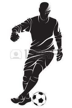 Illustration of vector football (soccer) player running silhouette with ball isolated vector art, clipart and stock vectors. Football Silhouette, Running Silhouette, Silhouette Photo, Soccer Art, Football Soccer, Stencil Art, Stencil Designs, Joker Pics, Trophy Design
