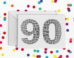 90th Birthday Card, Number ninety Card, 90th Birthday, Happy Birthday Card, 90th Birthday Card