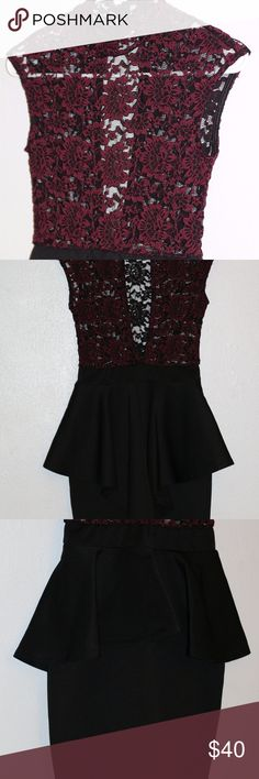 Red and Black High Neck Lace Dress Turtleneck lace Deep red and black flower pattern, buttons on neck in back (picture 4) Black skirt bottom is highly flattering, even made me look like I had a booty Super cute open back design in the shape of a long narrow pointed oval (pictures 2 & 4) The lace got torn in the middle of a flower on the left shoulder (picture 5) which can probably be mended if you're so inclined, I'd just wear black under the top and call it a day It looks Amazing on Foreign…