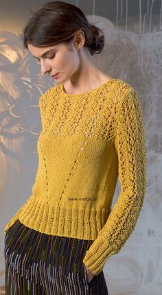 Breien met www.Knotje.nl Deze trui is gemaakt met LANG Yarns Gaia. Lang Yarns Gaia is een zeer zacht zomergaren van 100% Katoen. Doordat een zijdezacht netje gevuld is met zeer zachte lang vezelige katoen ontstaat er een volumineus en licht zomergaren. Model en patroon staan in het patronenboek FaM 243 Urban. (Model 39)