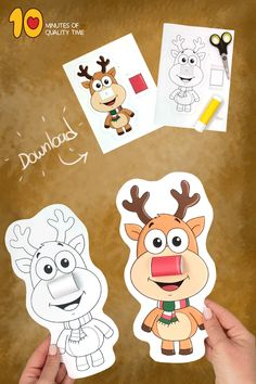 3D Reindeer Craft printable Christmas activity Bible Activities For Kids, Christmas Activities, Christmas Crafts, Reindeer Craft, Snowman, Christmas Tree Printable, Printable Masks, Gingerbread Man, Quality Time