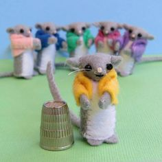 Felt Mouse Miniature  doll house tiny softie mini toy mouse