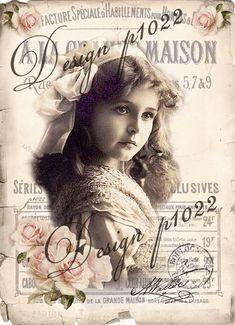 Vintage girl digital collage p1022
