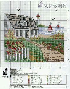 Cottage by the sea X-stitch pattern