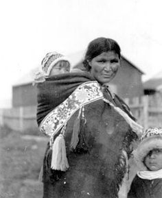 Historical babywearing photo: Athabaskan mother and child