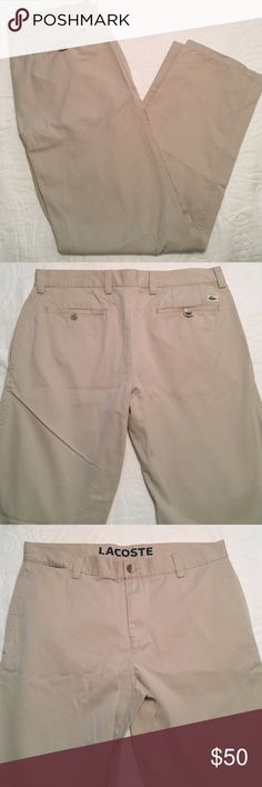 Lacoste men's khaki pants Khaki Lacoste pants with front and back pockets. Approx 31 in waist. Great condition Lacoste Pants Chinos & Khakis