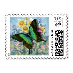 """Green Vintage """"Beautiful Butterfly"""" Postal Stamp"""